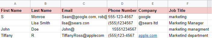 example of a dirty CRM data list before it goes through data cleansing