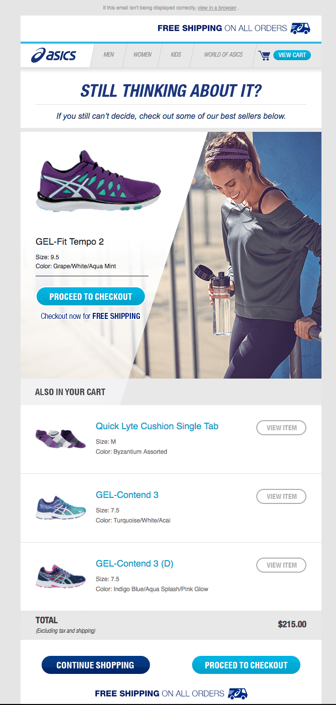 Asics email automation for customer retention