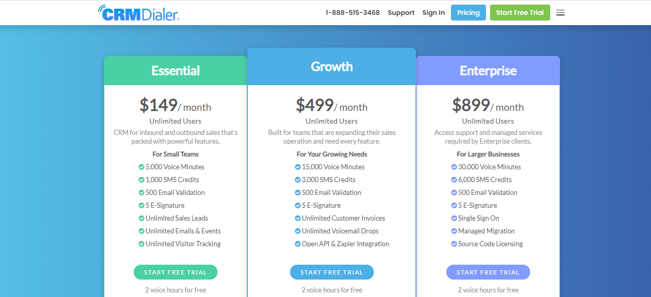 Pricing plan of CRMDialer, a customer support database software