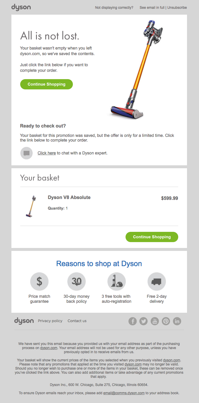 Email automation  in ecommerce example for an abandoned cart