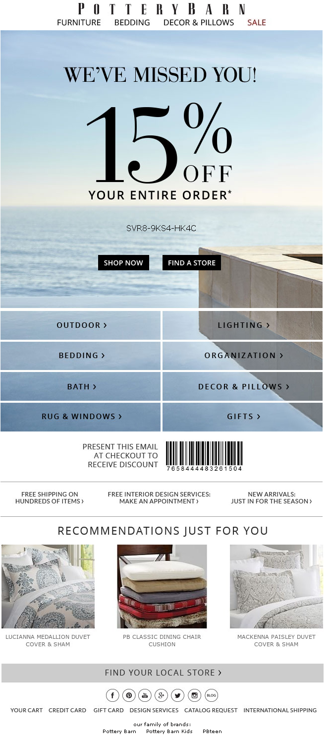 Example of reengagement automation email for ecommerce