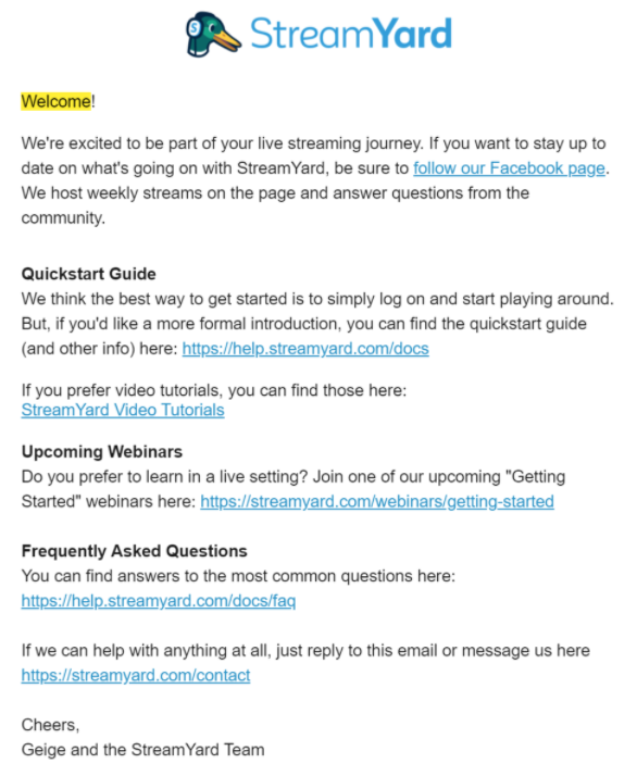 Example of a welcome email sent via an email automation