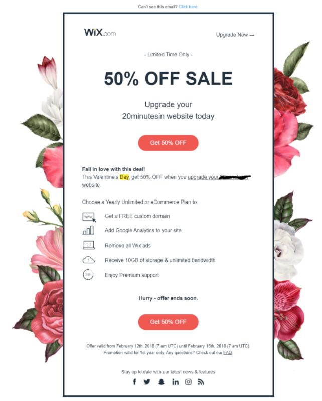 Seasonal promotion sent via email automation