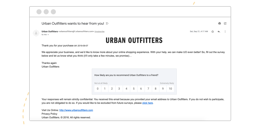 example of email automation for customer retention by urban outfitters