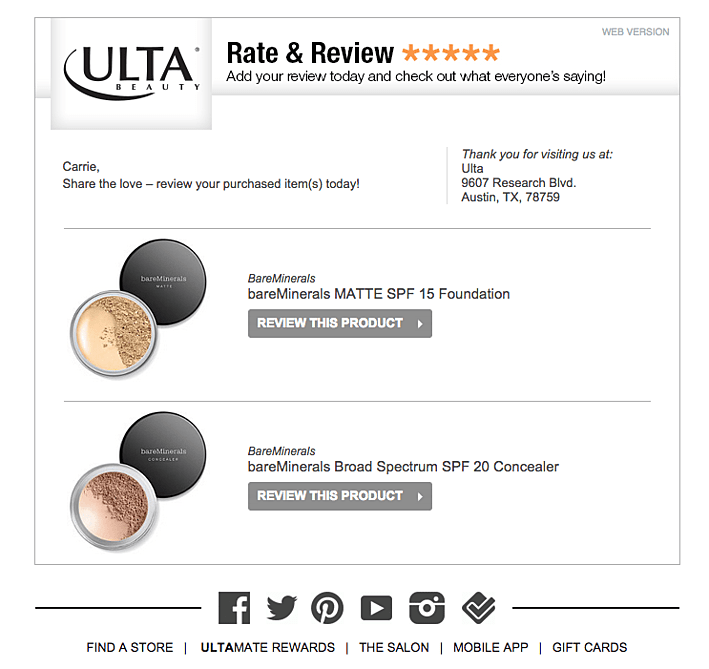 Example of automated post purchase email
