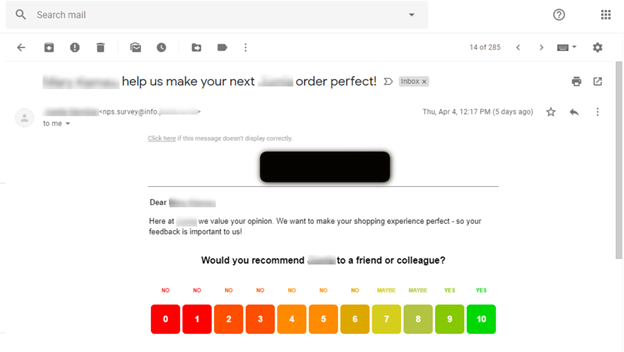 Example of using email automation to get customer feedback