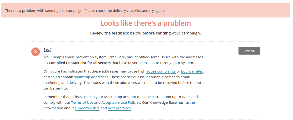 An example of what the Omnivore warning looks like in Mailchimp