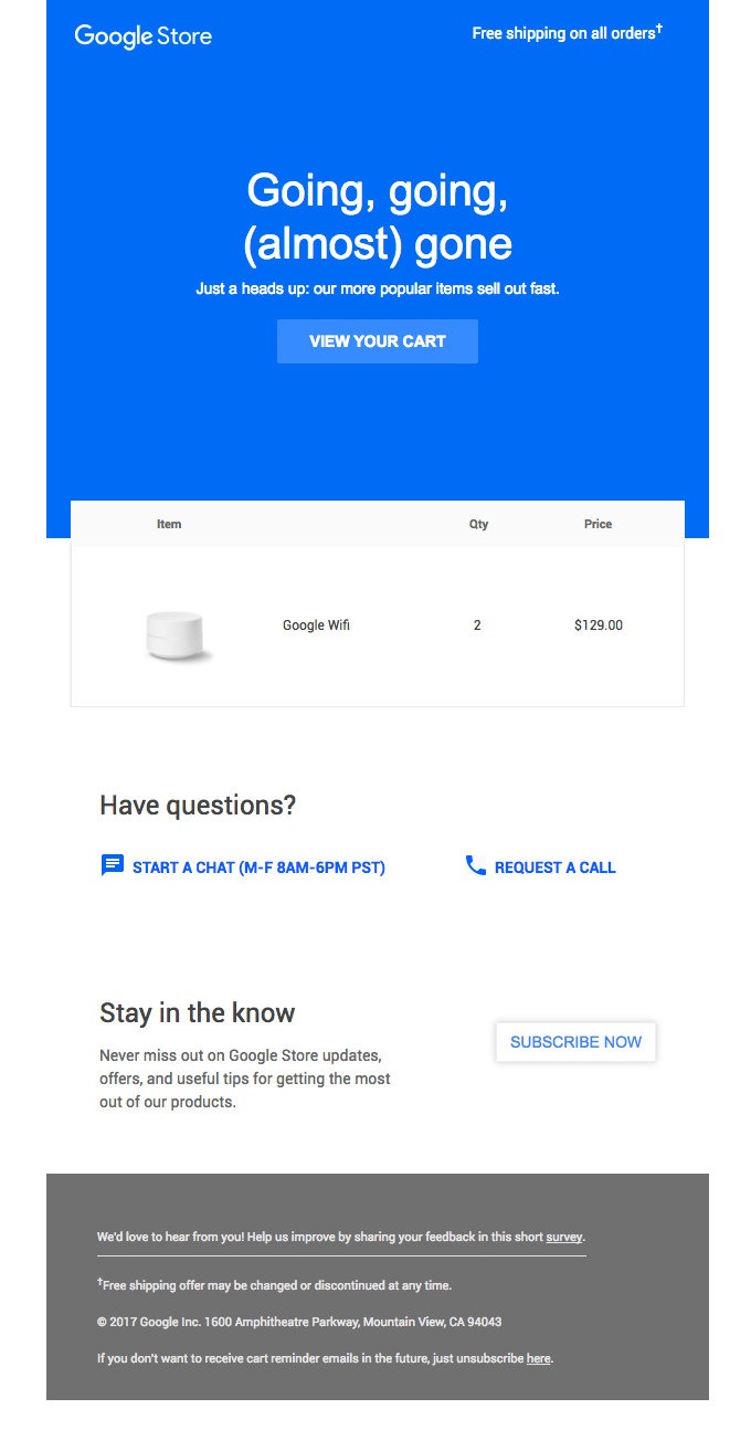 an example of an abandoned cart email from Google with the headline 'Going, going, (almost) gone'.