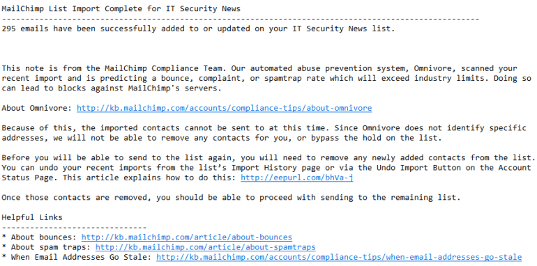 An example of a message sent by Mailchimp's security team alerting you to an Omnivore warning in Mailchimp